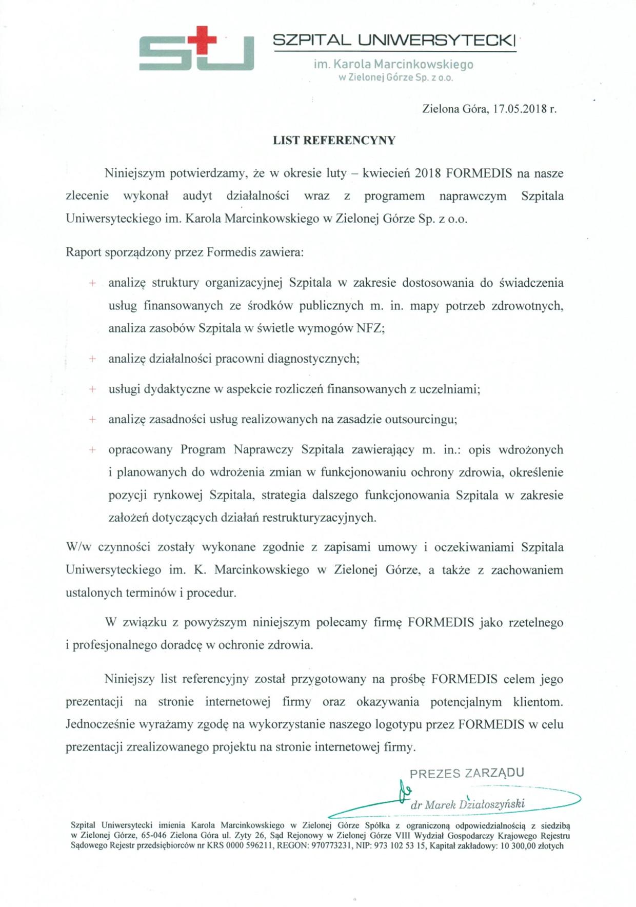 List Referencyjny Zielona Góra 21.06 ok