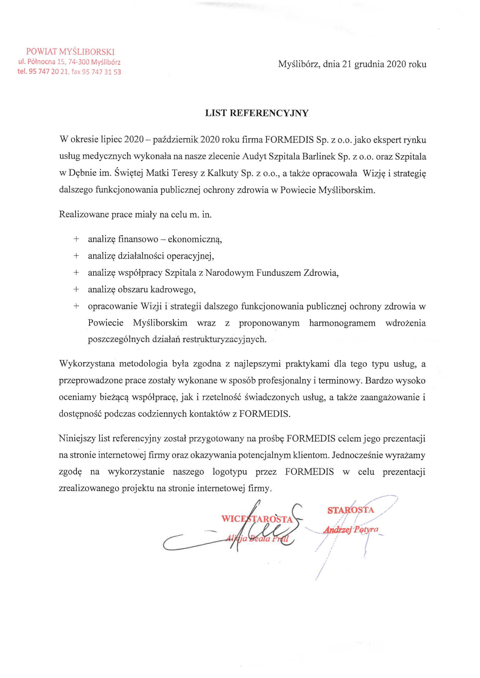 List Referencyjny Myślibórz-1
