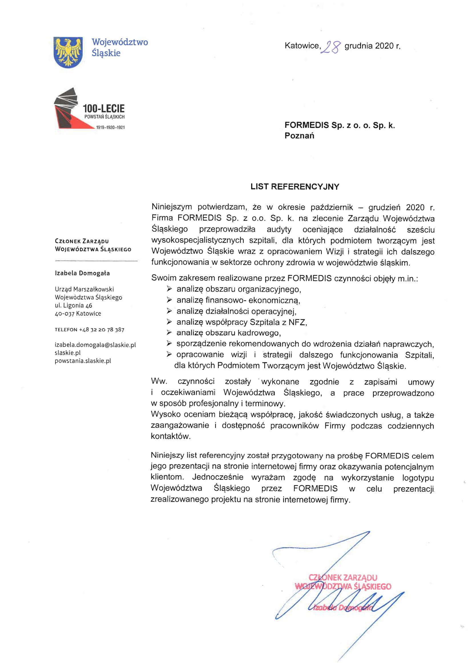 List Referencyjny Śląskie-1