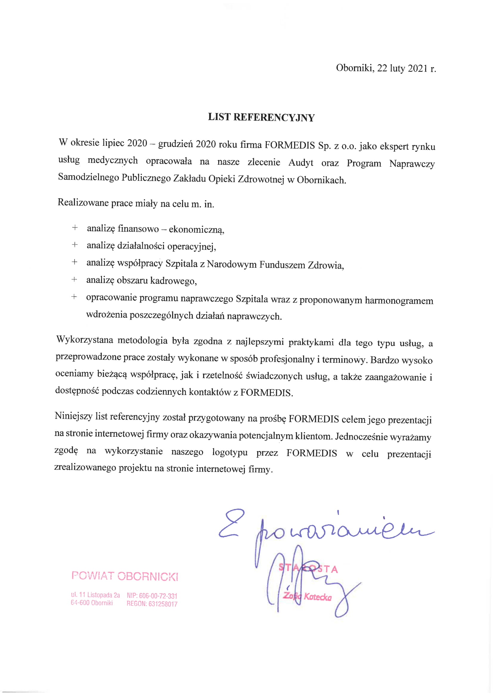 List referencyjny Oborniki-1