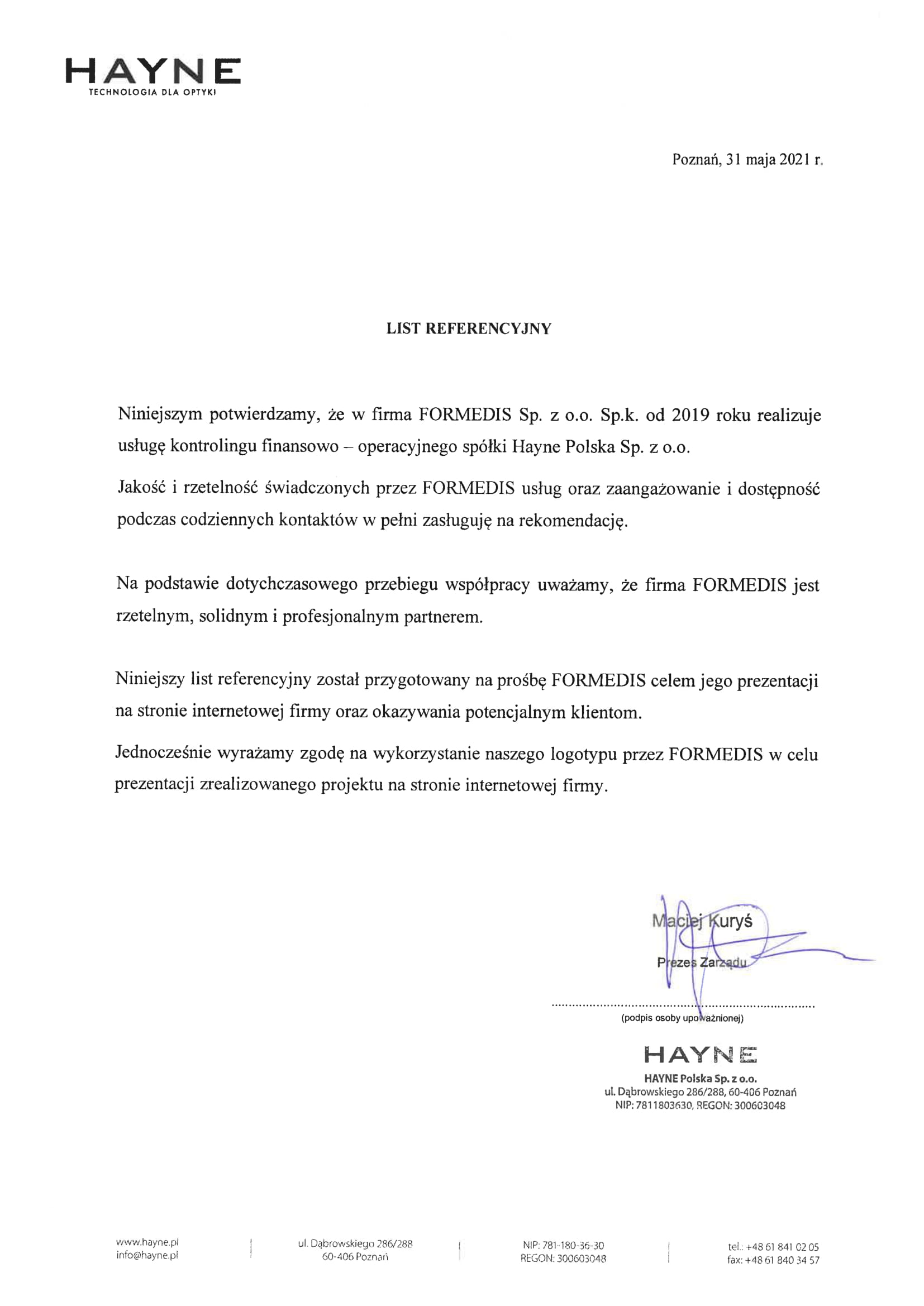 list Referencyjny HAYNE-1