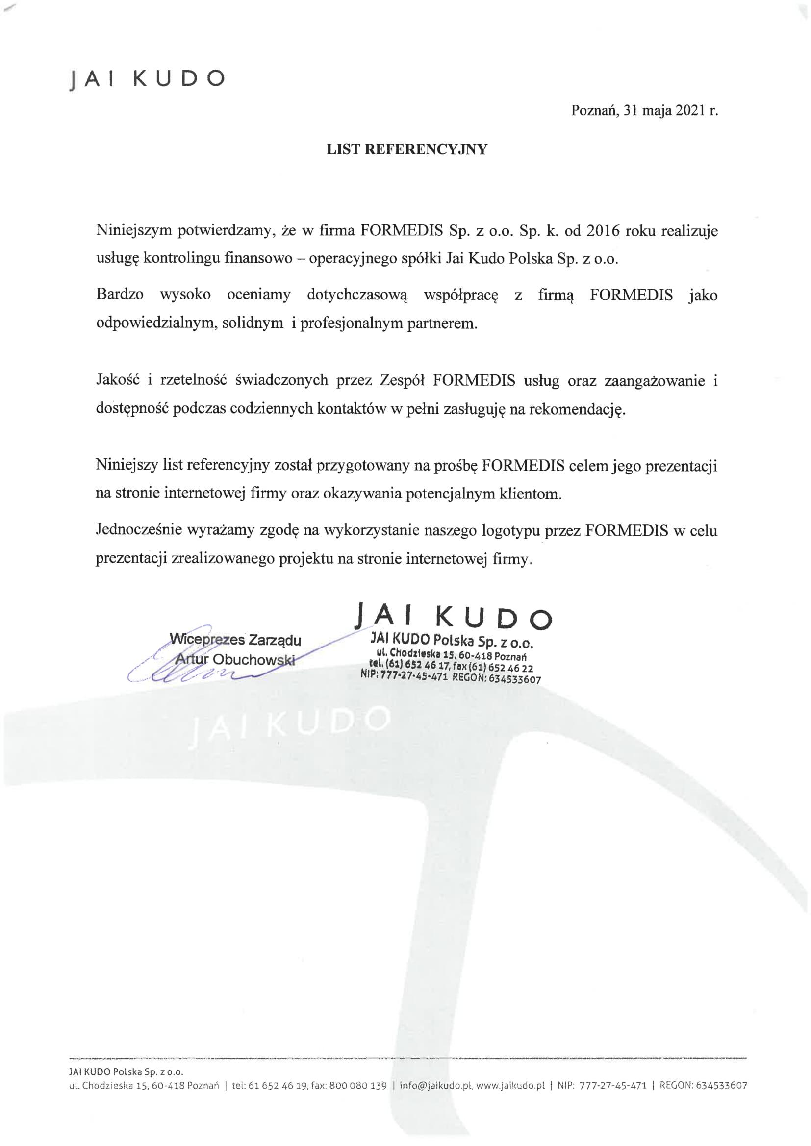 list Referencyjny JAI KUDO-1